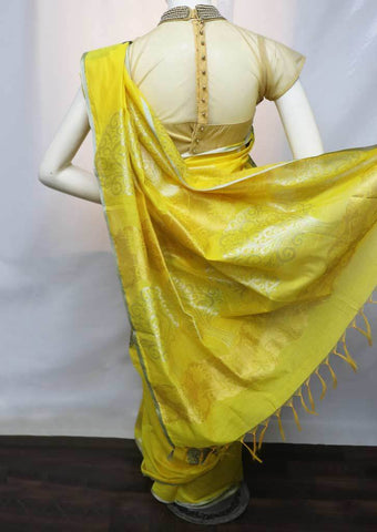 Yellow with White Silk Cotton Saree - FU30387 ARRS Silks