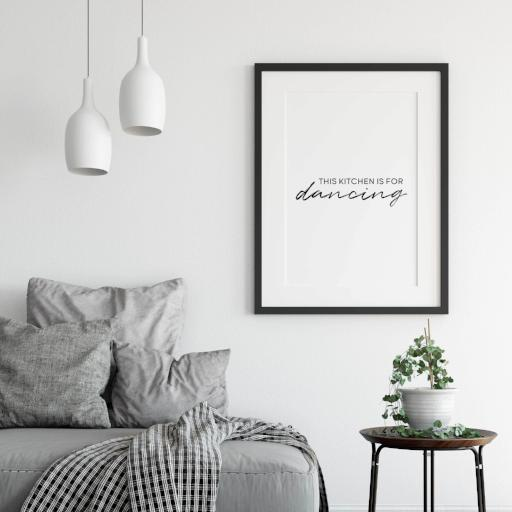 This kitchen is for dancing - light version - poster for sale - black and white typography poster - gallery wall kitchen - A Book of Words