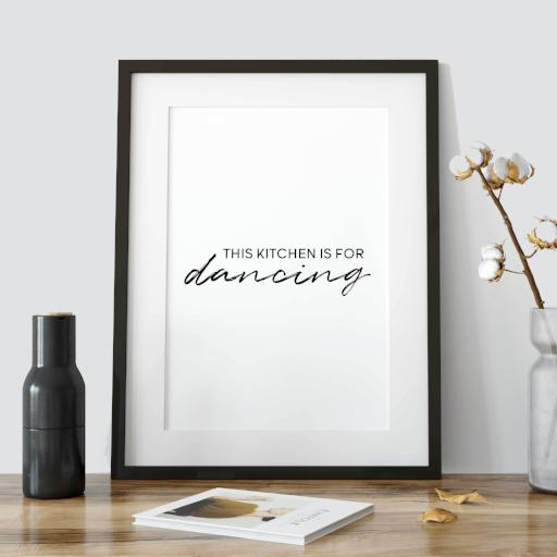 This kitchen is for dancing - light version print - Minimal black and white quote print - Typography poster - A Book of Words