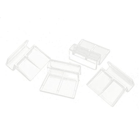 Aquarium Glass Cover Holder - SODIAL(R) 4 Pcs Clear Plastic Fish Tank Glass Cover Clip Support Holder 12mm