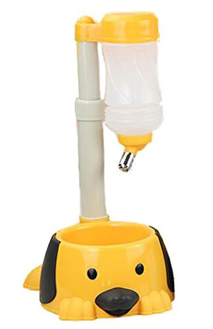 Bestwoo 2 in 1 Automatic Pet Feeder/Waterer for Dogs/Cats (Yellow)