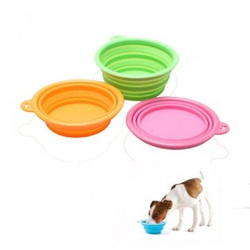 Environmental Silicone Collapsible Pet Dog Cat Portable Bowl --- Color:Pink