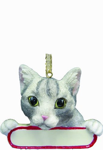 "Tabby Cat Ornament Silver ""Santa's Pals"" With Personalized Name Plate A Great Gift For Tabby Cat Lovers"