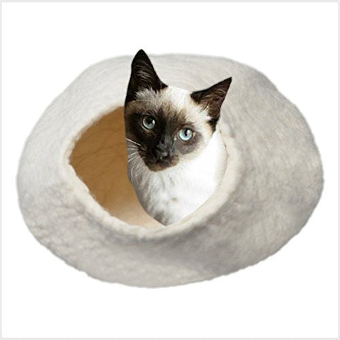 100% Felted Wool Cat Bed White Cave Igloo House Home Pet Gear (Medium)