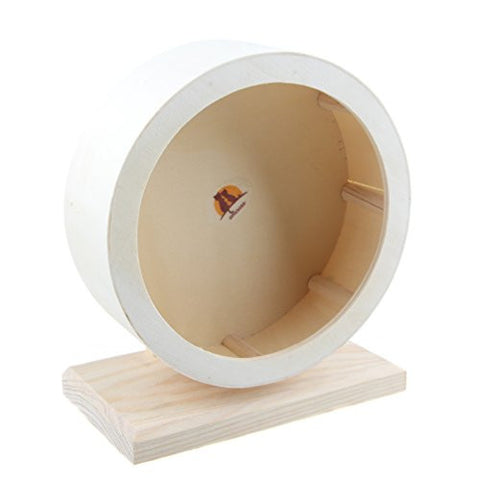 Emours Hamster Silent Spinner Comfort Exercise Wheel ,Wooden Small Animal Cage Toy,Small