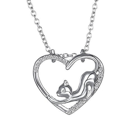 GIONO Cute Cat Locket Pendant Clavicular Chain Necklace For Women