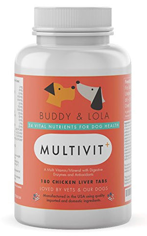 Best Dog Vitamin - #1 for Multivitamin, Nutrients, Calcium, Digestive Enzymes & Antioxidants - Chicken Liver Chewable Tablets - Ideal Supplement for Senior Dogs and Dogs of All Ages