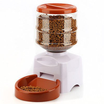 Brown & White Automatic Pet Feeder Food Bowl Dish LCD Dispenser for Dog Cat 5.5L