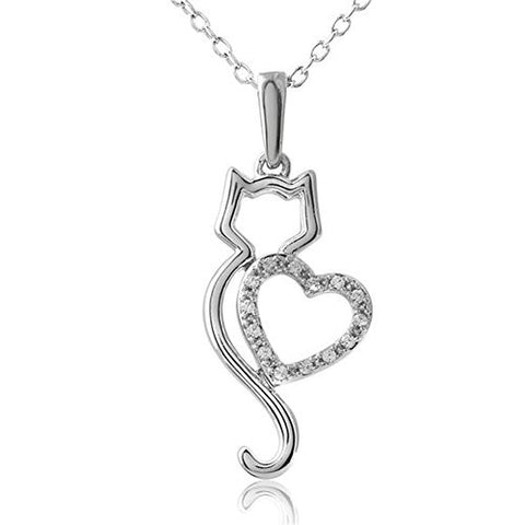 GIONO Alloy Cat necklace Heart-Shaped Locket Pendant