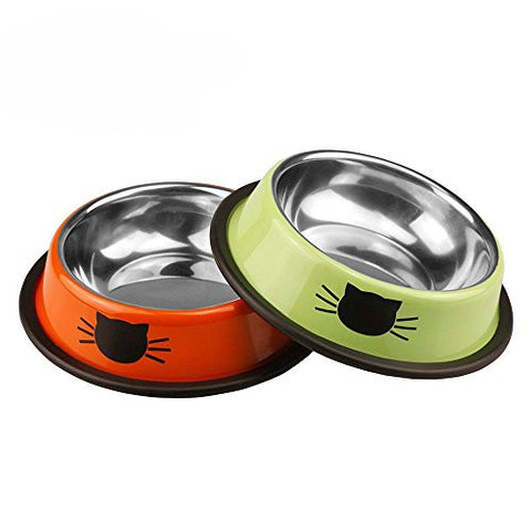 Corasays Stainless Steel Cat Bowl 8 Ounce for Small Dogs Cats & Small Animals with Non-Skid Rubber Bottom, for Pet Food & Water Bowl (Set of 2)