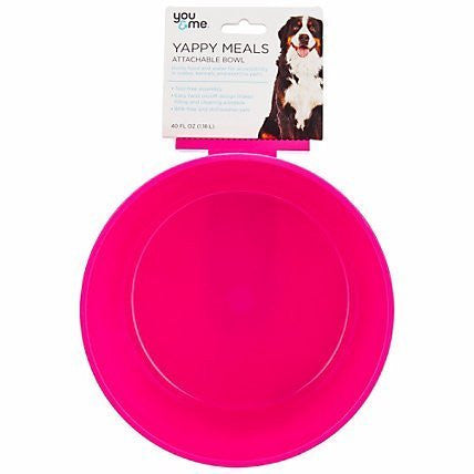 You & Me Yappy Meals Attachable Dog Bowl Medium Pink 20 OZ