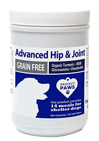 Project Paws Hip and Joint Supplement for Dogs - Advanced Soft Chew Supplement for Canines - MSM, Glucosamine, Chondroitin, Organic Turmeric - 120 CT