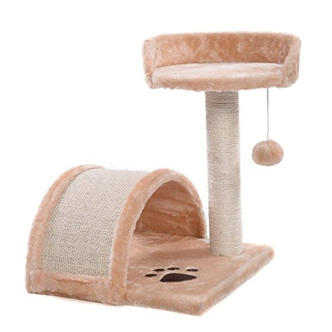 2Cat Tree Post Scratcher Furniture Play House Pet Bed Kitten Toy Beige New