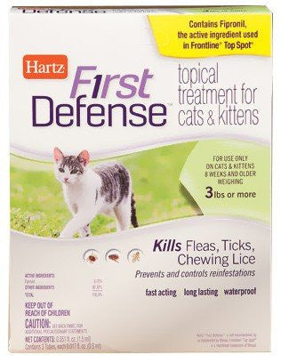Hartz First Defense Tropical treatment For Cats & kittens , 1 CT (Pack of 4)