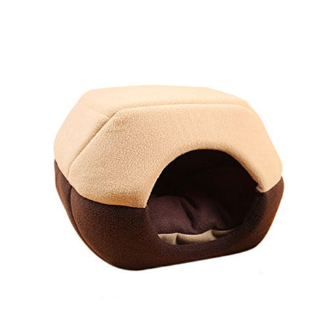 Vivian Warm Cozy Pet Dog Cat Tent Bed Removable Cushion Indoor House (L, Coffee)