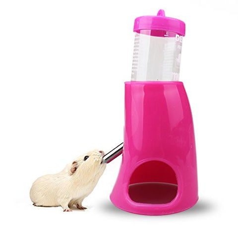 MAONO Hamster Water Bottle and Hideout 2 in 1 Dispenser With Plastic Base Hut, Stainless Steel Nozzle for Hamsters, Mouse 80ML