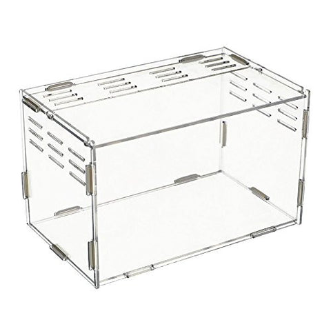 "Happy Pet Acrylic Terrarium Container for Reptiles and Amphibians, Total Transparent, 9.84""x5.91""x5.91"""
