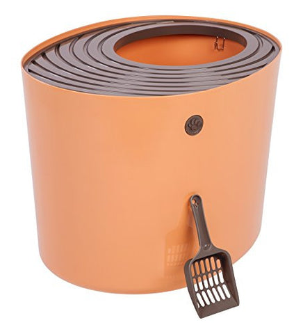 IRIS Top Entry Cat Litter Box, Orange
