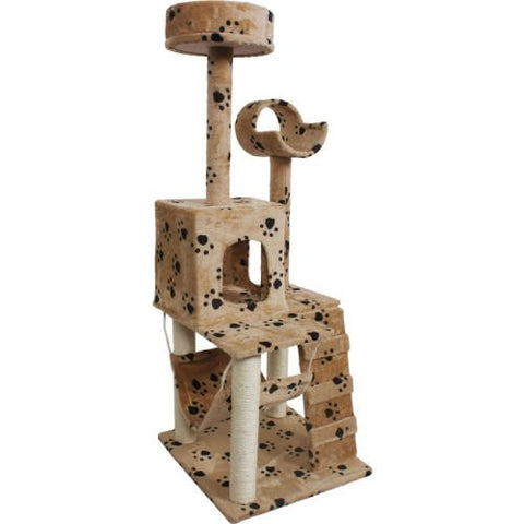 "Lovely 52"" Cat Kitty Tree Tower Condo Furniture Scratch Post Pet House Toy Beige Paws"