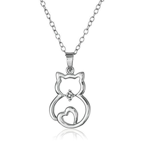 GIONO Cat Clavicle Chain Necklace Memorial locket pendant with 42+5CM Chain