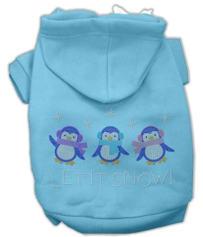 Mirage Pet Products 12-Inch Let it Snow Penguins Rhinestone Hoodie, Medium, Baby Blue
