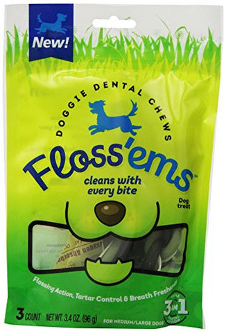 Floss'ems Doggie Dental Chews for Large Dogs, 3-Pack