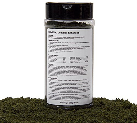 Gut-Loading Diet(GLD-200A Complex Enhanced) Is A Targeted, Nutrient-Dense Gut-Loading Insect/Cricket Diet Designed For Treating And Maintaining Amphibians & Reptiles, 250g(8.8oz)