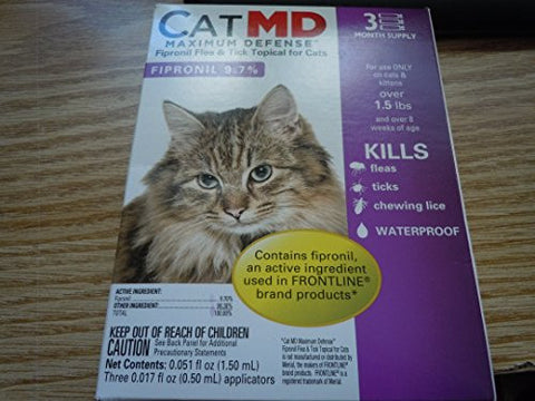 Maximum Defense Fipronil Flea & Tick Topical for Cats 3 Months Supply by Cat MD