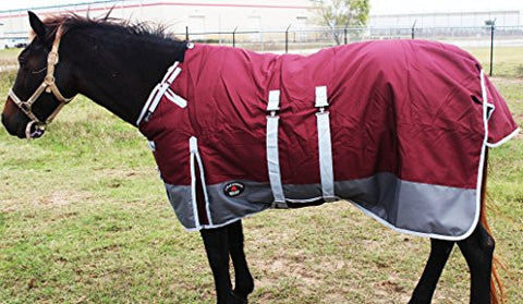 "78"" 1200D Turnout Waterproof Horse Tough WINTER BLANKET HEAVY Belly Band 576B"