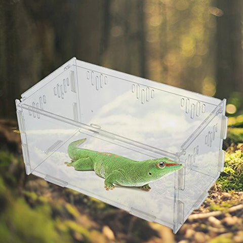 OSHIDE Acrylic Transparent Reptiles Terrarium Container for Lizard Chameleon Spider Snake or Other Reptiles & Amphibians