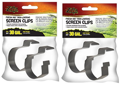 (4 Pack) Zilla Reptile Terrarium Covers Non-Locking Screen Clips, 30G+