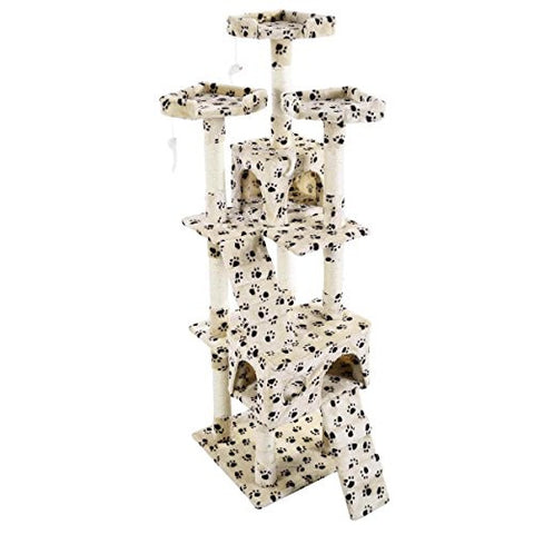 Safstar Cat Tree Tower Condo Furniture Scratching Post Pet Kitty Play House Beige Paws (67 inch)