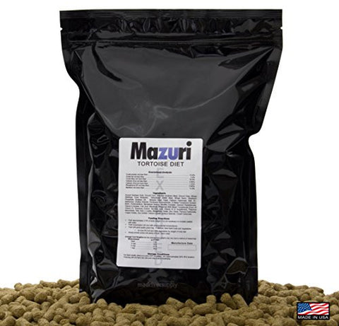 "3.5lbs(1.58kg) Mazuri Tortoise Diet/Feed/Food, An Extruded 1/2"" x 3/4"" Length Pellet, High Fiber Diet Designed For Dry Land Herbivorous Tortoises & Reptiles, By Mad River Supply."