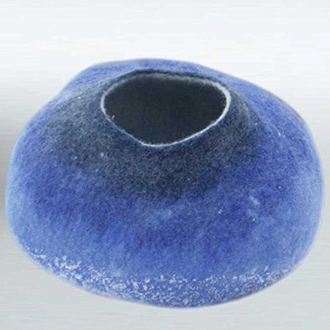 100% Felted Wool Blue Cat Bed / Cave / Igloo / House / Home Pet Gear (Small)