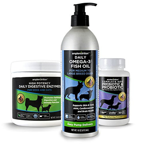 Vitality Pro System For Large Dogs - Contains Complete Prebiotic & Probiotic, Daily Digestive Enzymes, and Daily Omega 3 Fish Oil