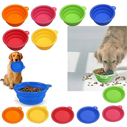 New Portable Collapsible Silicone Cat Dog Pet Feeding Bowl Water Dish Feeder no.0