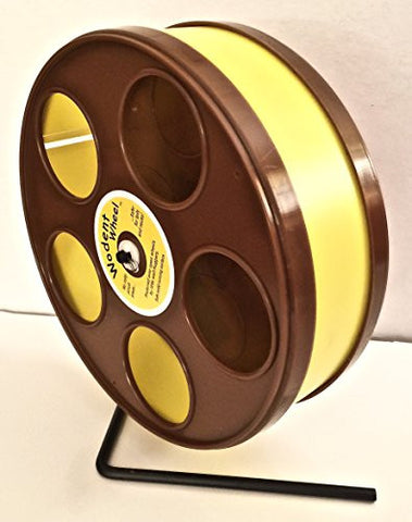 "SUGAR GLIDERS USA 11"" Senior Wodent Wheel with Nailtrimmer Track Included Yellow with Brown Panels"