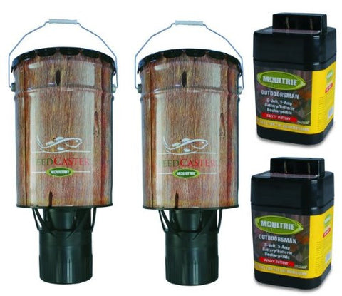 2) Moultrie 6 Gallon Automatic Pond Fish Feeders + 2) 6V Rechargeable Batteries