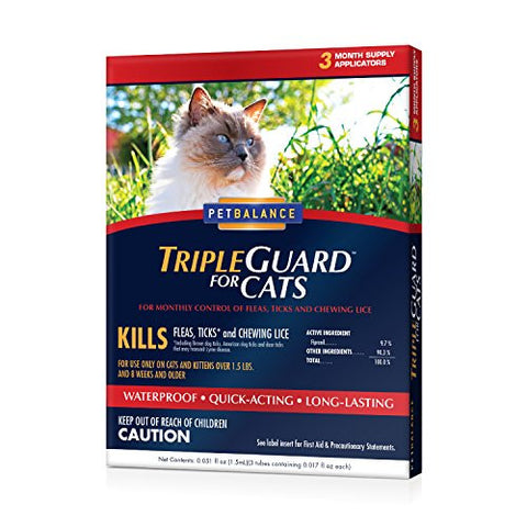 PetBalance TripleGuard Flea & Tick Drops for Cats, over 1.5 lbs, 3 Month Supply