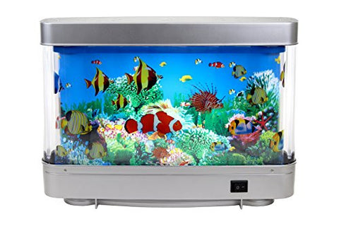 Lightahead Artificial Tropical Fish Aquarium Decorative Lamp with Multi Colored Artificial Fish and Ocean in Motion