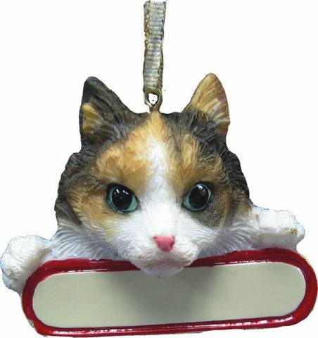 "Calico Cat Ornament ""Santa's Pals"" With Personalized Name Plate A Great Gift For Calico Cat Lovers"