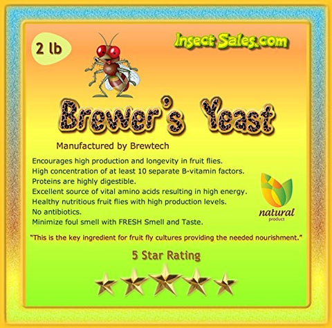 Brewers Yeast (2 Lbs) TOP GRADE All Natural 100% Organic For Fruit Fly Cultures