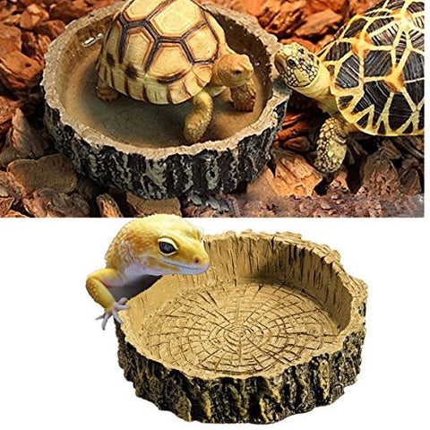Round Imitation Bark Reptile Tortoise Water Dish Food Bowl Amphibians Feeding Dish