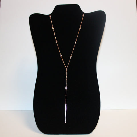Crystal & Bar Drop Necklace