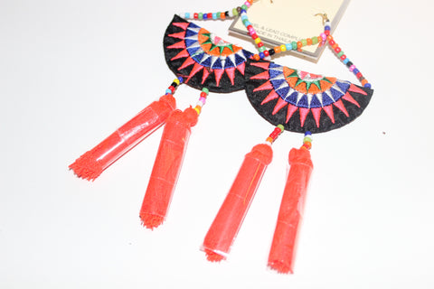 Fan & Tassel Drop Earrings