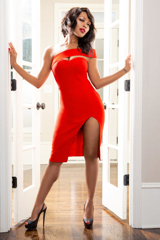 Shyann Red One Shoulder Bodycon Bandage Dress