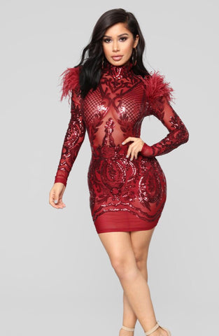 Dedra Long Sleeve Sequin Dress