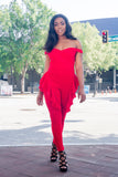 Pamela Red Ruffled Jumpsuit