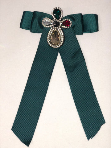 EMERALD GREEN RHINESTONE RIBBON PIN