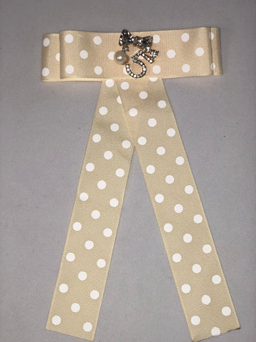 Revel Number 5 Yellow Polkadot Ribbon Pin